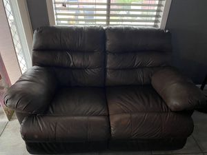 Brown Leather Recliner Couch for Sale in Whittier, CA