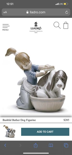 Bashful bather dog figurine lladro for Sale in Whittier, CA