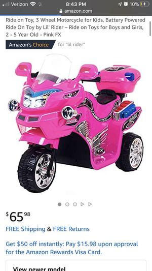 Little girls ride on motorcycle bike pink for Sale in Santa Ana, CA