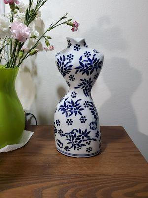 "12"" White & Blue porcelain Anthropomorphic (female form) Vase for Sale in Miami, FL"