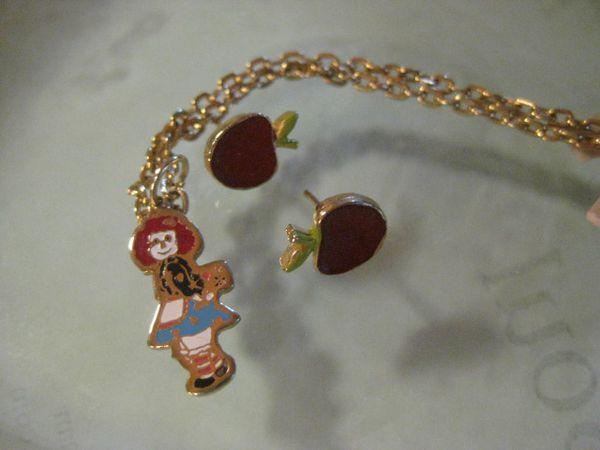 Vintage Raggedy Ann Enamel Pendant Necklace & Red Apple Earrings
