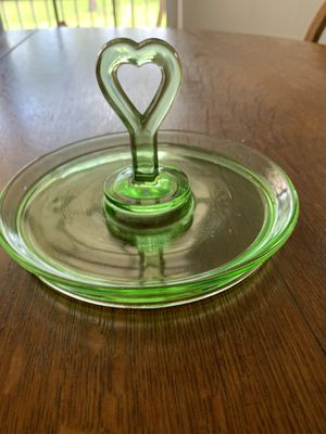"Green depression glass 6.5"" candy dish with heart handle for Sale in Alva, FL"