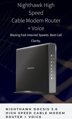 NIGHTHAWK DOCSIS 3.0 HIGH SPEED CABLE MODEM ROUTER + VOICE for Sale in Mt. Juliet, TN