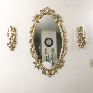 Golden Wall Mirror With 2 Wall Sconces for Sale in Purcellville, VA
