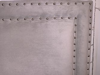 Velvet Upholstered Double Row Nailhead Trimmed Headboard - Gray for Sale in Los Angeles,  CA