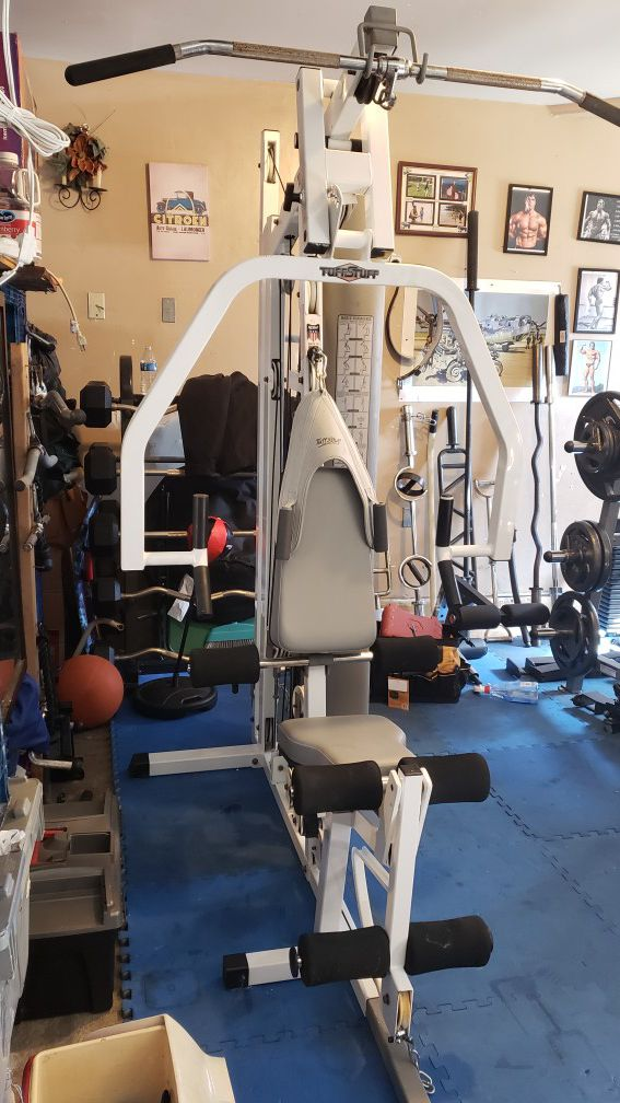 I have for sale a total home gym in great shape. This TuffStuff TS-1000 Home Gym is equipped to do a total body work out.