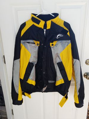 Teknic motorcycle street gear jacket 48/58 yellow black armored coat hydro guard for Sale in Clermont, FL