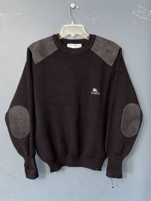 Vintage Burberry Made In England Medium Men's Knit Sweater Elbow Patches Logo for Sale in Los Angeles, CA