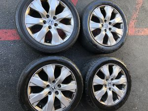 Rims and tires 17 5x114 for Honda acord Civic crv tires no good for Sale in Santa Ana, CA