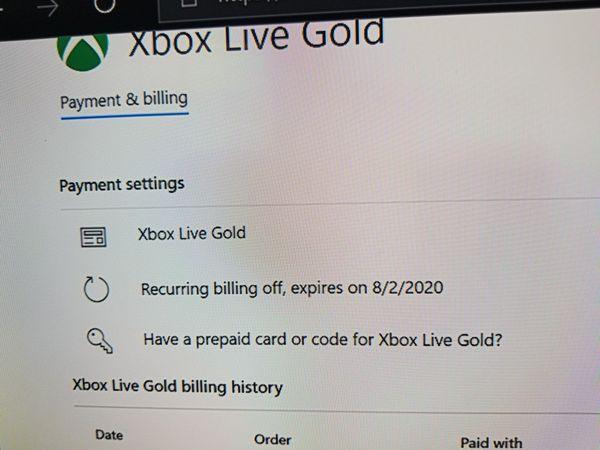 Xbox Billing History