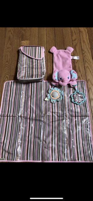Changing pad with holder and car seat toy smoke and pet free for Sale in Taunton, MA