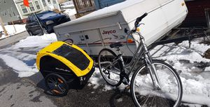 Kids bike trailer w/ bike for Sale in Rumford, ME