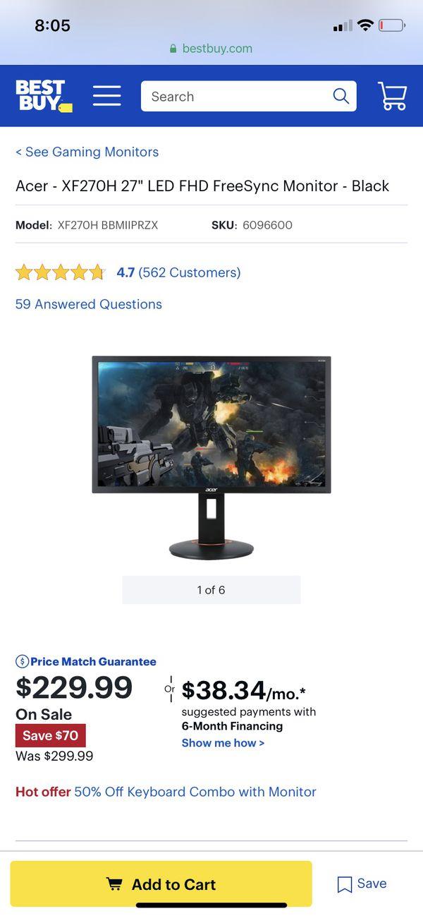 iBUYPOWER - Gaming Desktop - Intel Core i5-9400F - 8GB Memory - NVIDIA GeForce GTX 1660 - 1TB HDD + 120GB SSD - Black with/ 144hz Acer Monitor