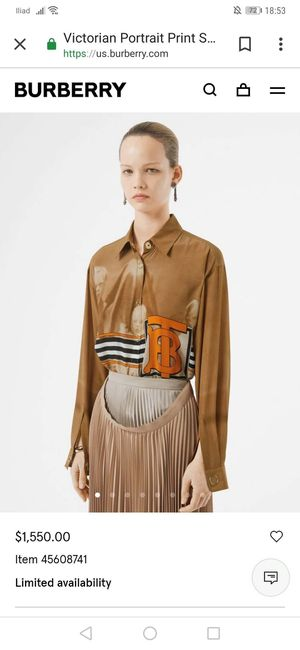 2020 SPRING SUMMER BURBERRY PURE SILK SHIRT for Sale in Queens, NY