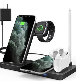 Updated Version,Wireless Charger 5 in 1,Qi Wireless Charging Station for iWatch 6/5/4/3/2/1& AirPods3/2/1 & Pencil & iPhone 12/11/11 Pro Max/XR/XS Max for Sale in Carson,  CA