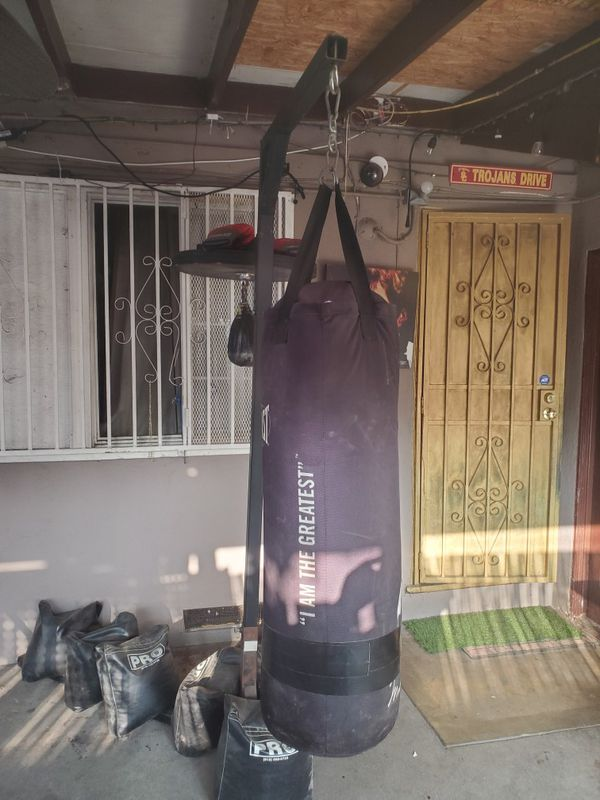 Heavy bag stand with heavy bag and speed bag