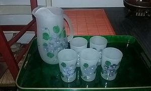 Antique hand-painted frosted glass water or juice set for Sale in San Bruno, CA