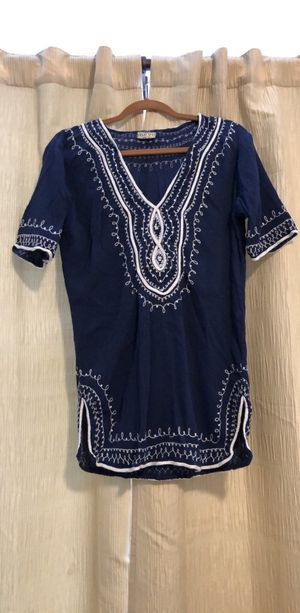 Blue and white beach coverup/tunic top - size M for Sale in Dedham, MA