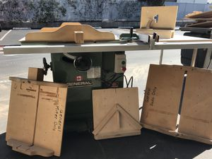 """Table saw 5hp by General Canada. 52"""" fence comes with sleds for crosscut, miter, dado and taper cuts. Tenoning jig. Great condition. Everything works for Sale in Placentia, CA"""
