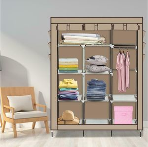 NEW $28 Closet Organizer Storage Rack Portable Clothes w/ Side Shoe Bag Beige for Sale in Ontario, CA