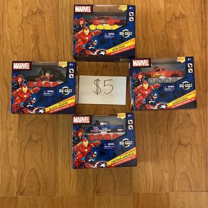$5 New! Marvel Die Cast Metal 4 X 4 Rebels Model Kit - Iron Man, Captain America, Black Widow, Spiderman for Sale in Chino, CA