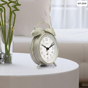 """""""La Crosse Technology Weathered Ivory Metal 4.17 in. Analog Twin Bell Alarm Table Clock """" for Sale in Dallas, TX"""
