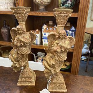 Christmas Wooden Angel Gold Candlesticks Vintage for Sale in Gambrills, MD