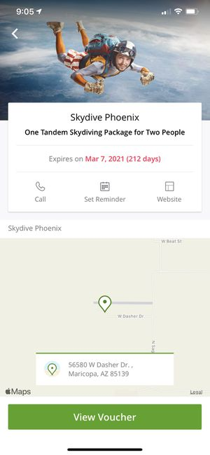 Skydiving for 2. Bought for $289 on Groupon. Ask for $200. for Sale in Scottsdale, AZ