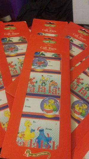 Sesame Street gift tags peel and stick 15 pieces in each for Sale in Heath, OH