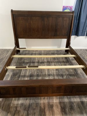 King size bed frame- Solid headboard for Sale in Pasadena, MD