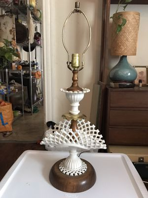 Vintage milk glass, brass, and wood 2ft lamp for Sale in San Jose, CA