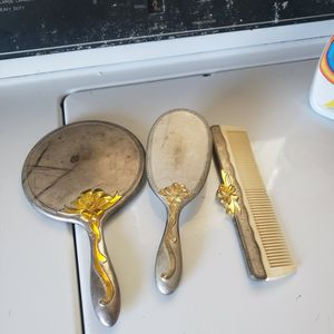 Vintage Silver Plated Mirror, Brush And Comb Set From 1940-60 for Sale in Seal Beach, CA