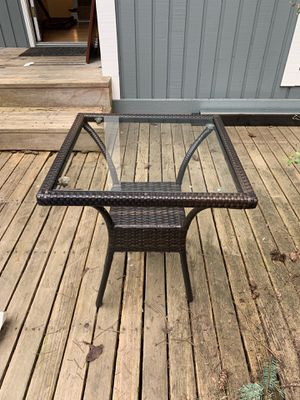 Outdoor Glass Rattan Table $40 for Sale in Seattle, WA