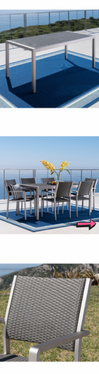 ⭐$𝟗𝟓𝟎 𝐔𝐒𝐃 𝐎𝐁𝐎⭐ Patio Dining Table Set Aluminum Chairs 7 Piece with Wicker Top Grey Metal Backyard Home Furniture Comfortable Garden Indoor for Sale in Chula Vista, CA