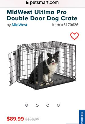 Dog Crate Midwest icrate brand double door crate including pet bed for Sale in Holly Springs, NC