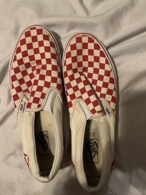 red slip on checkerboard vans size 11 for Sale in Port Arthur, TX