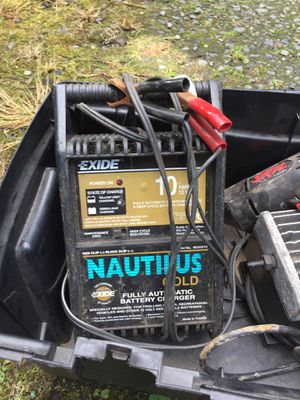 Battery charger / air compressor/drill toolbox for Sale in Puyallup, WA