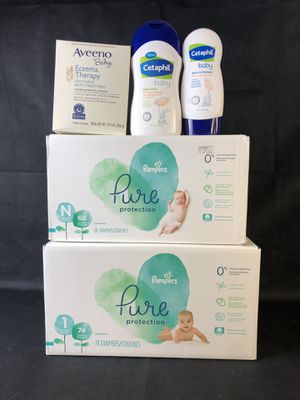 Bundle: Pampers Pure NEwborn & Size 1, Cetaphil, Aveeno for Sale in Melvindale, MI