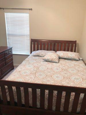 Queen sleigh bed frame with mirror/dresser. for Sale in Augusta, GA