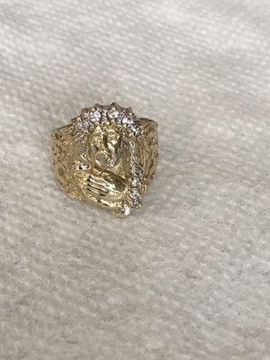 10k Jesus head ring cz stones for Sale in Davenport, FL