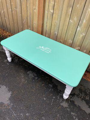 Farmhouse teal wood coffee table for Sale in Lynnwood, WA