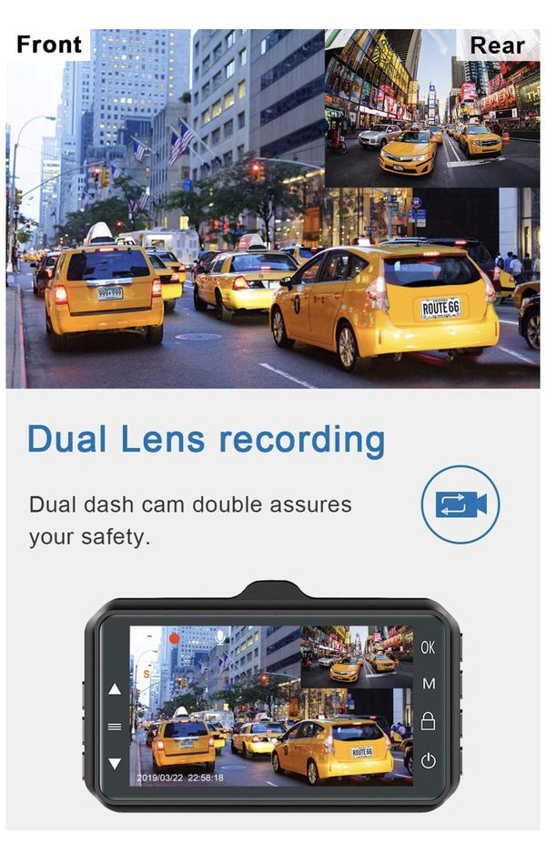 Brand new! Dash Cam Front and Rear Dual Dash Cam 3 inch Dashboard Camera Full HD 170° Wide Angle Backup Camera with Night Vision WDR G-Sensor Parking