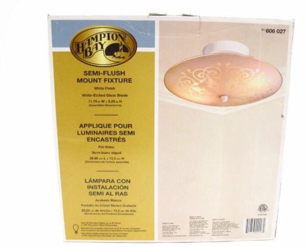 Hampton Bay 2 Light Semi Flush Mount Ceiling Light Fixture Etched Glass Shade