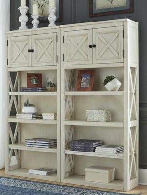 Bolanburg White/Oak Large Bookcase | H647 Ashley 🎗^^39 down payment only ^^free&fast delivery and financing available🎗 for Sale in Houston, TX