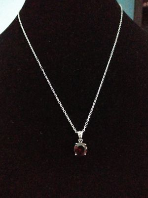 Elegant red Garnet sterling silver 925 mark necklace. Brand new for Sale in Panama City Beach, FL