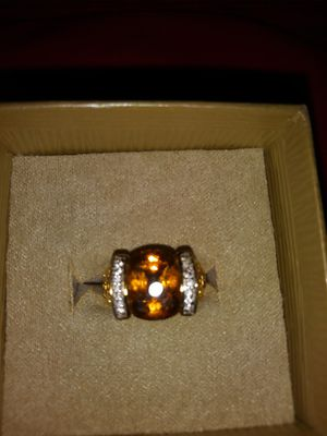 Madeira Citrine 4.76CTW with White Zircon Real18K Gold Plated Over .925 Sterling Silver Ring Size 7 for Sale in Detroit, MI