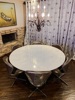 """Real Marble 72"""" Dining Table With 6 Real Leather Aluminum Chair Set for Sale in Chino Hills, CA"""