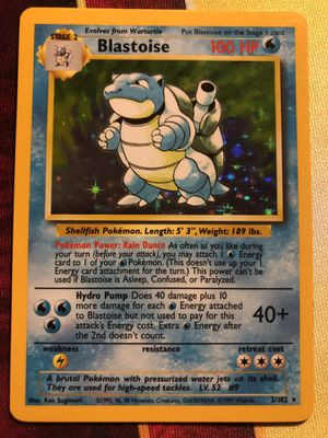 Blastoise 2/102 Holo Foil Holographic Rare Pokemon Card TCG WOTC 1999 Base Set Unlimited Edition for Sale in Anaheim, CA