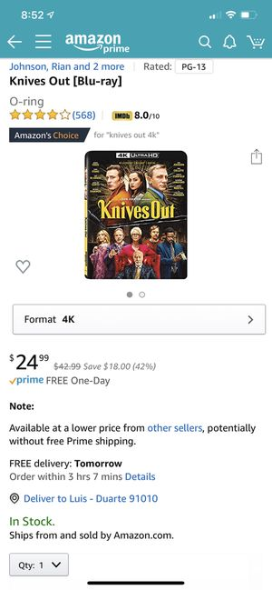 Knives Out 4k UltraHD Blu-Ray- no Digital code (Brand new) for Sale in Bradbury, CA