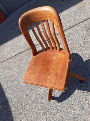 Vintage oak swivel office chair on wheels for Sale in Battle Ground, WA